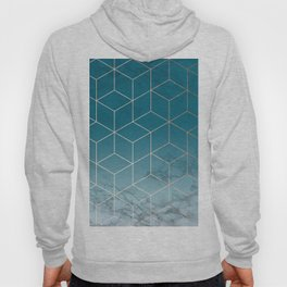 Gold Geometric Cubes Teal Marble Deco Design Hoody
