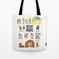 nintendo Tote Bags featuring Nintendo Characters by Hamburger Hands