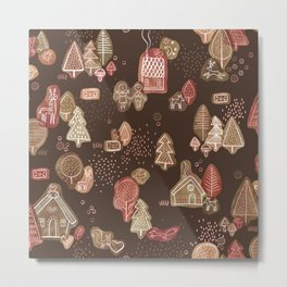 Hansel and Gretel Fairy Tale Gingerbread Pattern on Brown Metal Print