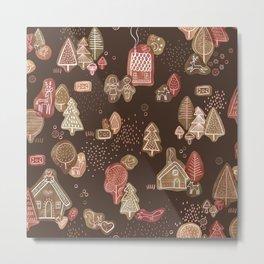 Hansel and Gretel Fairy Tale Gingerbread Pattern on Brown Metal Print