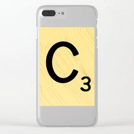 Scrabble C Decor, Scrabble Art, Large Scrabble Prints, Word Art, Accessories, Apparel, Home Decor Clear iPhone Case