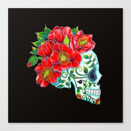 Sugar Skull with Red Poppies Canvas Print