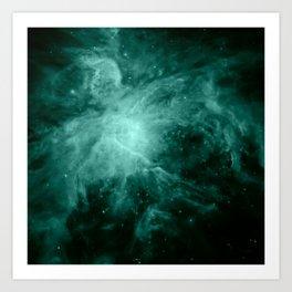 Orion Nebula Dark Teal Art Print