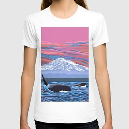 Orcas Under the Pink Sky T-shirt