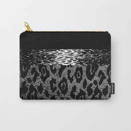 ANIMAL PRINT CHEETAH LEOPARD BLACK WHITE AND SILVERY GRAY Carry-All Pouch