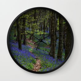 Bluebell trail at Margam woods Wall Clock