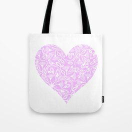 Floral Heart Design Pink and White Tote Bag