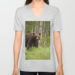 Amazing Huge Adult Grizzly Bear Strolling Proudly Across Wood Clearing Ultra HD Unisex V-Neck