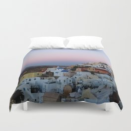 Dawn of Santorini Greece Duvet Cover