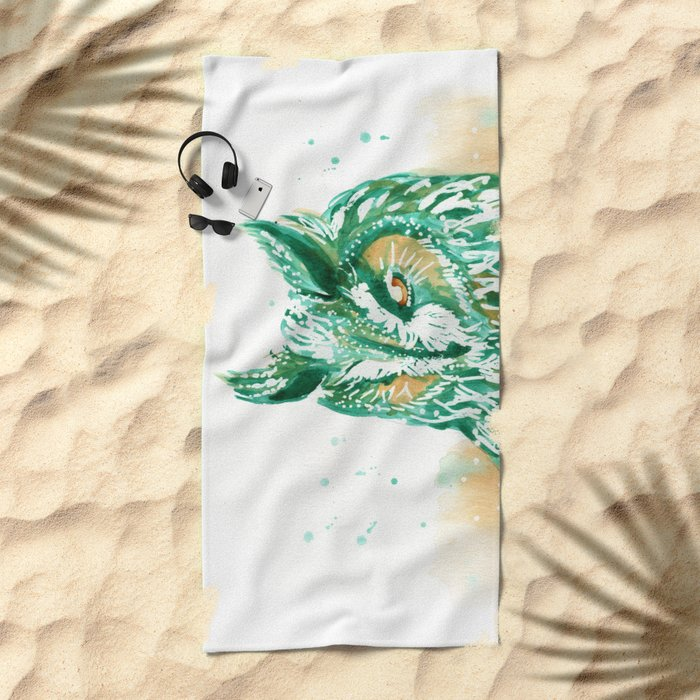 green owl Beach Towel