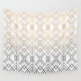 Gold And Grey Geo Wall Tapestry