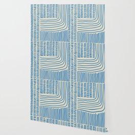 Digital Stitches thick beige + blue Wallpaper