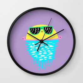 Happy Sunset Plums Wall Clock