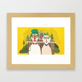 American Gothic Couple Framed Art Print