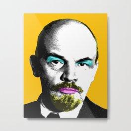 Ooh Mr Lenin - Orange Metal Print