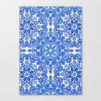 bedding Canvas Prints featuring Cobalt Blue & China White Folk Art Pattern by micklyn