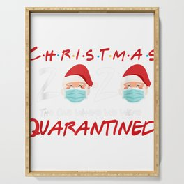 Christmas 2020 The One Where We Were Quarantined Santa Mask Serving Tray