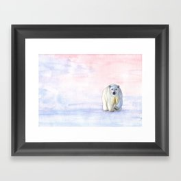 Polar bear in the icy dawn Framed Art Print