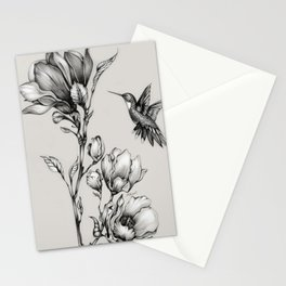 Magnolia Flower and Hummingbird Stationery Cards