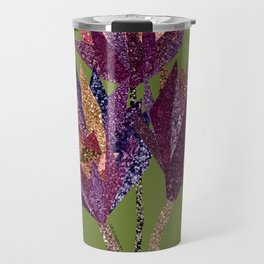 Purple flower bunch with pot (olive) Travel Mug
