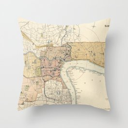 Vintage Map of Shanghai China (1918) Throw Pillow