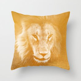 Lion On Gold Metal Throw Pillow
