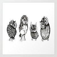 owls Art Prints featuring OWLS by Acus