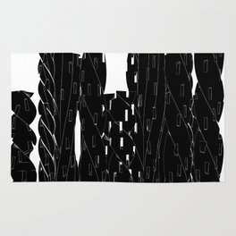 Abstract Cityscape Black and White Rug
