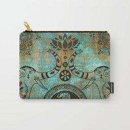 Elephants Lotus Flower Distressed Mandala Design Carry-All Pouch