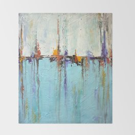"""Abstract White and Blue Painting – Textured Art – """"Sailing""""  Throw Blanket"""