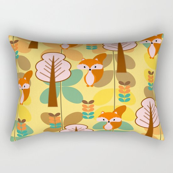 Foxes in the forest Rectangular Pillow