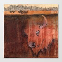 bison Canvas Prints featuring Bison by Pat Butler