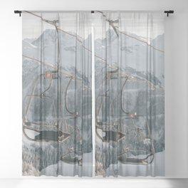 Ski lift in a fairytale winter landscape   Landscape Photography Alps   Print Art Sheer Curtain