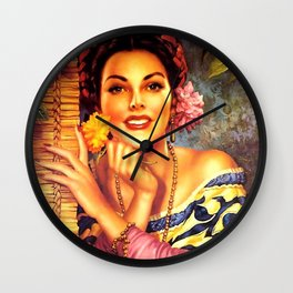 Jesus Helguera Painting of a Mexican Girl Beside Rattan Curtain Wall Clock
