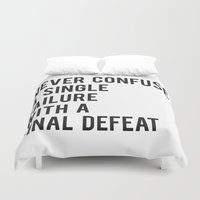 fitzgerald Duvet Covers featuring F Scott Fitzgerald - Never Confuse A Single Failure With A Final Defeat Print by StricklenPress