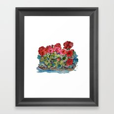 Red Geraniums painting Framed Art Print