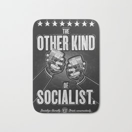 "Vintage ""The Other Kind of Socialist"" Alcoholic Lithograph Advertisement in shiny silver Bath Mat"