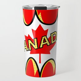 Canadian Flag Comic Style Starburst Travel Mug