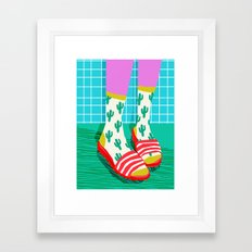 Sliders - memphis throwback retro neon 1980s 80s style pop art shoe fashion grid pattern socks Framed Art Print