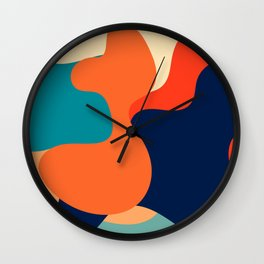 Retro 70's and 80's colorful fluid abstraction Wall Clock