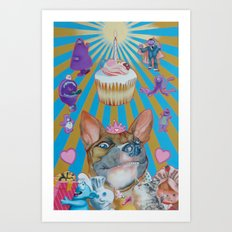 doggie birthday party Art Print