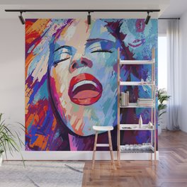 painting of a girl sings Wall Mural