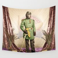 general Wall Tapestries featuring General Simian of the Glorious Banana Republic by Peter Gross