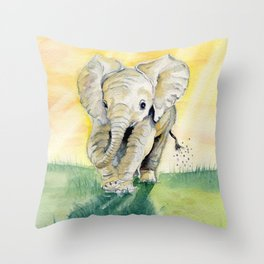 Colorful Baby Elephant Throw Pillow