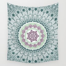 Color teal and purple feather mandala hippie boho Wall Tapestry