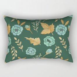Watercolor floral turqiouse roses print Rectangular Pillow