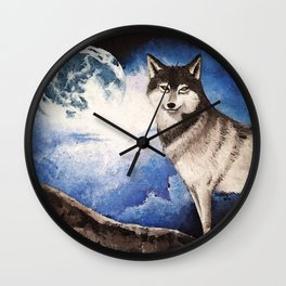 Wolf and His Moon Wall Clock