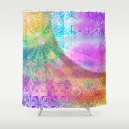 Moon and Sun having a shine out Shower Curtain