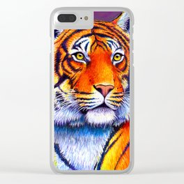 Colorful Bengal Tiger Portrait Clear iPhone Case