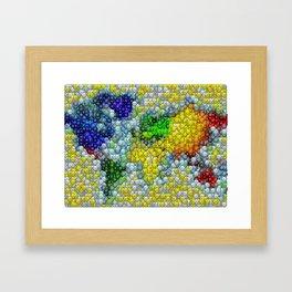 M&Ms Candy mosaic World Map Framed Art Print
